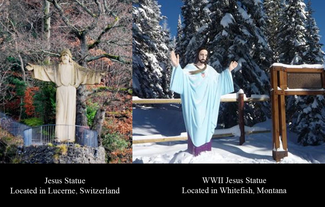 Comparison of the WWII statue and the one in Switzerland.