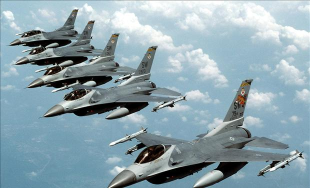 "File photo of five U.S. Air Force F-16 ""Fighting Falcon"" jets flying in echelon formation over the U.S. en route to an exercise"